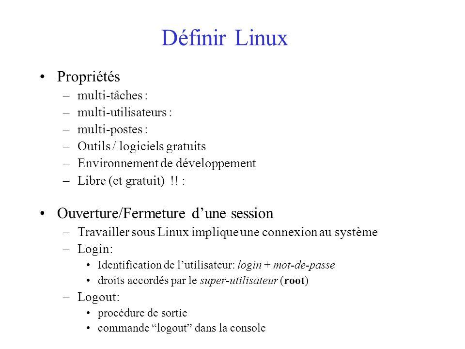 Définir Linux Propriétés –multi-tâches : –multi-utilisateurs : –multi-postes : –Outils / logiciels gratuits –Environnement de développement –Libre (et