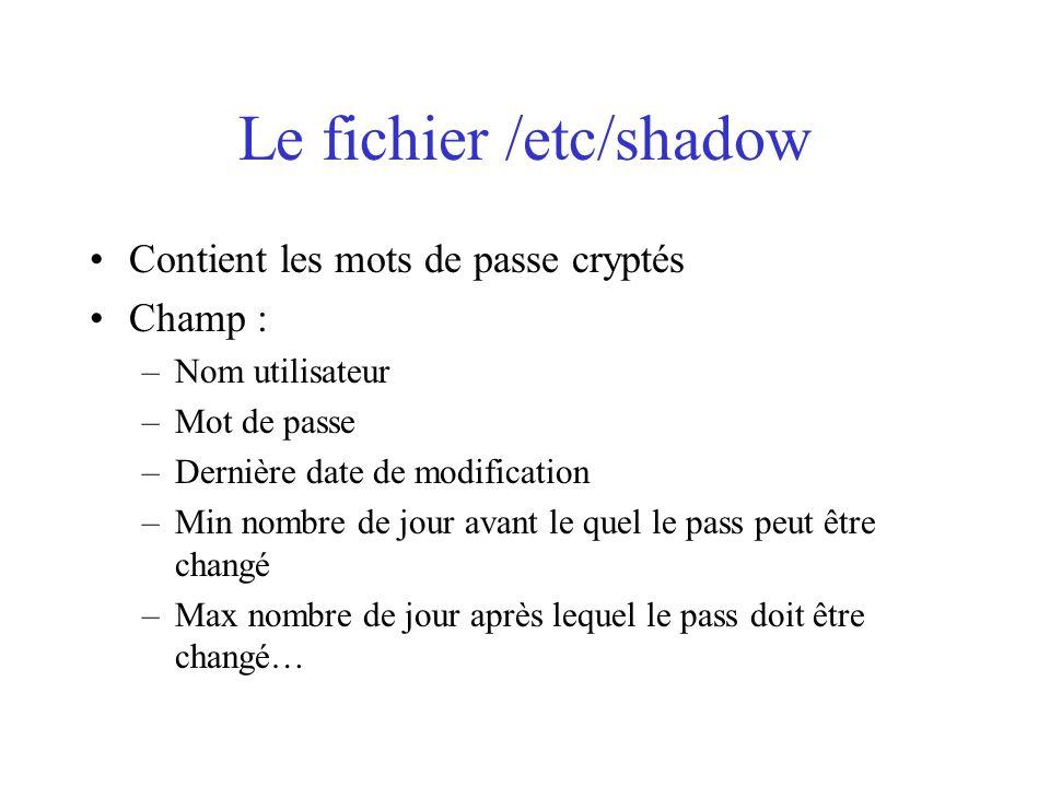 Le fichier /etc/shadow Contient les mots de passe cryptés Champ : –Nom utilisateur –Mot de passe –Dernière date de modification –Min nombre de jour av