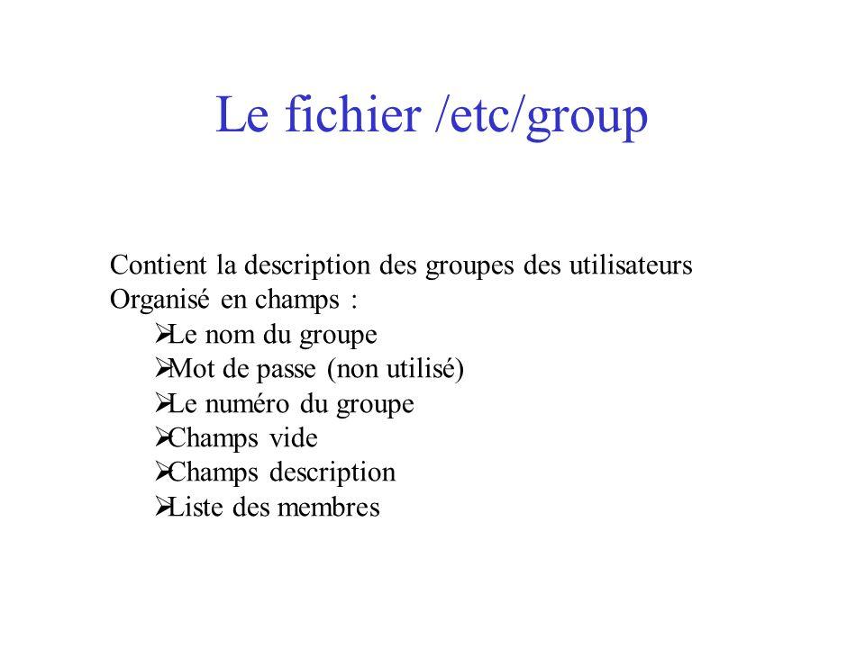 Le fichier /etc/group Contient la description des groupes des utilisateurs Organisé en champs : Le nom du groupe Mot de passe (non utilisé) Le numéro