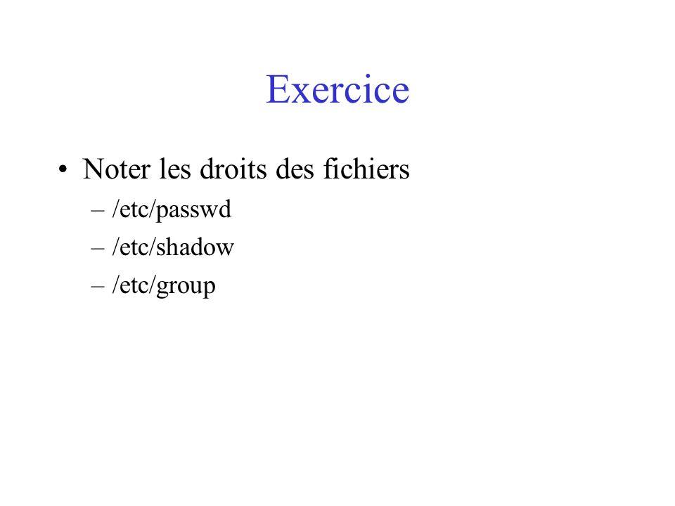 Exercice Noter les droits des fichiers –/etc/passwd –/etc/shadow –/etc/group