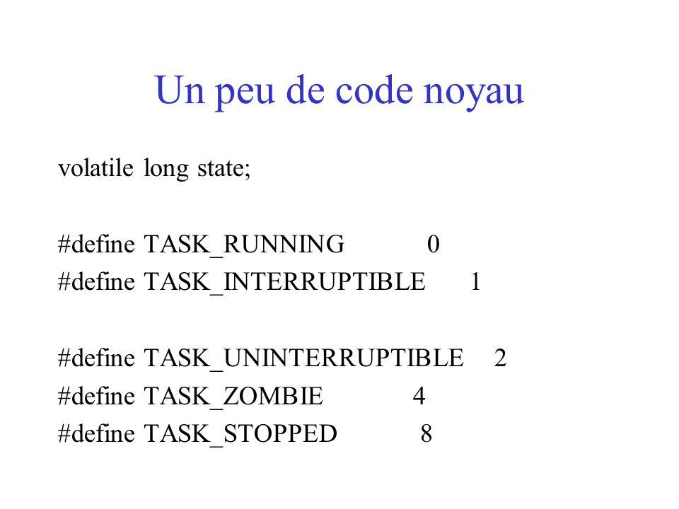 Un peu de code noyau volatile long state; #define TASK_RUNNING 0 #define TASK_INTERRUPTIBLE 1 #define TASK_UNINTERRUPTIBLE 2 #define TASK_ZOMBIE 4 #de