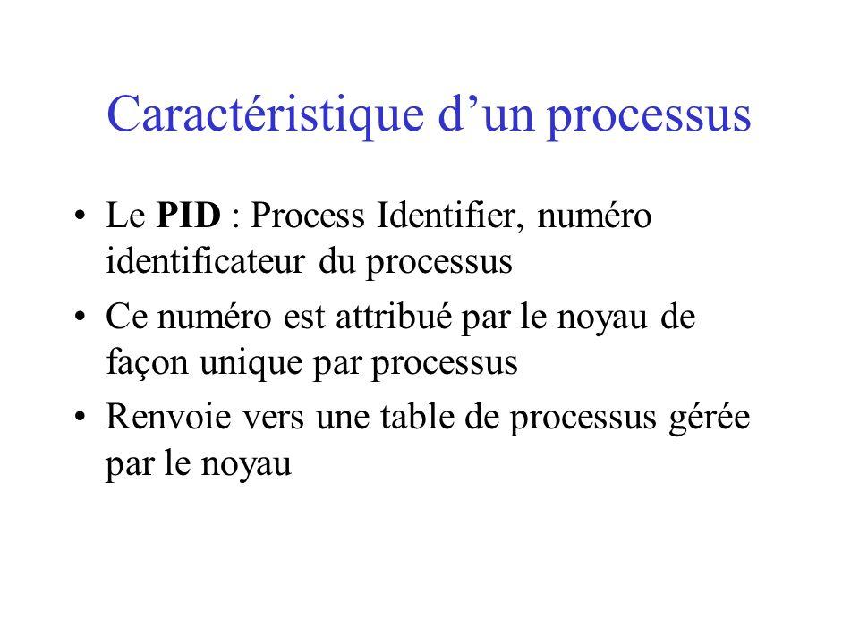 Caractéristique dun processus Le PID : Process Identifier, numéro identificateur du processus Ce numéro est attribué par le noyau de façon unique par