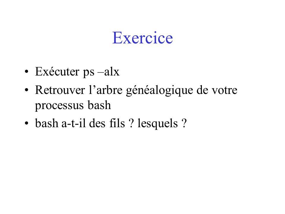 Exercice Exécuter ps –alx Retrouver larbre généalogique de votre processus bash bash a-t-il des fils ? lesquels ?