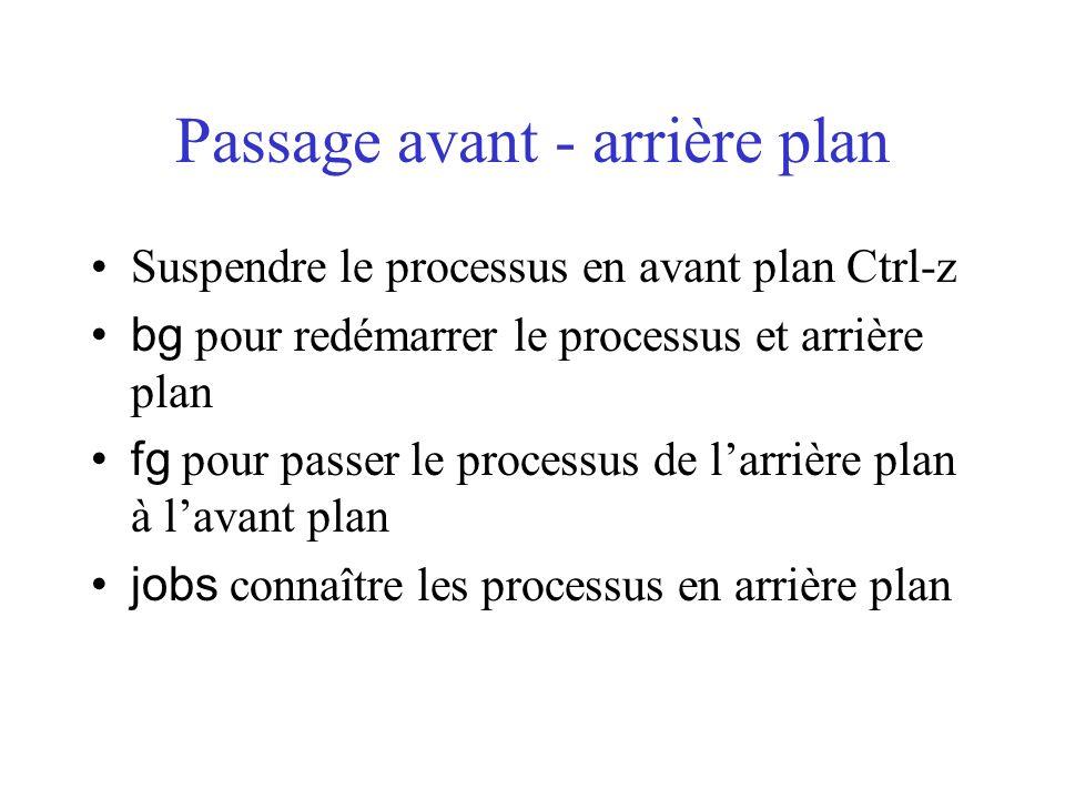 Passage avant - arrière plan Suspendre le processus en avant plan Ctrl-z bg pour redémarrer le processus et arrière plan fg pour passer le processus d