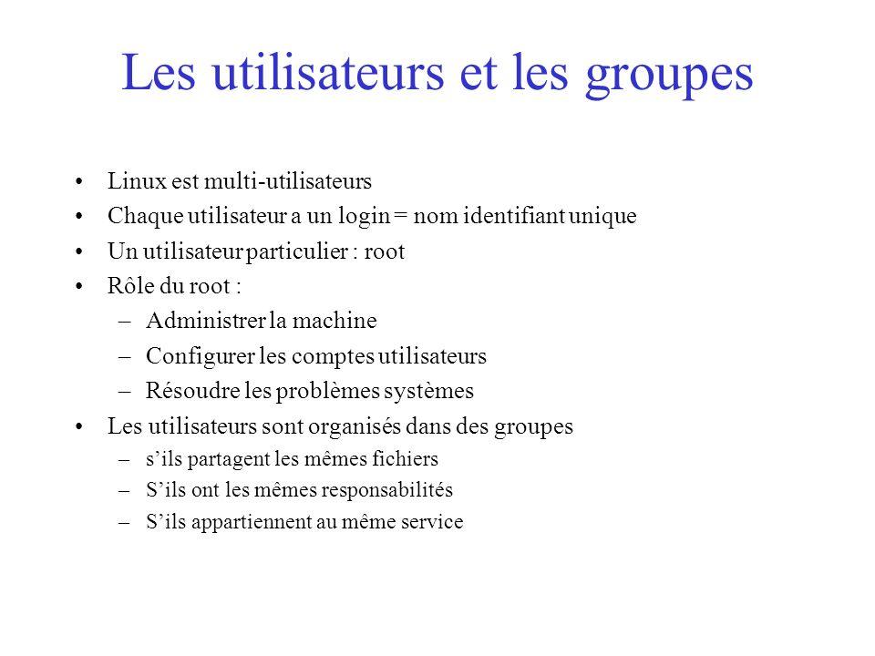 Les utilisateurs et les groupes Linux est multi-utilisateurs Chaque utilisateur a un login = nom identifiant unique Un utilisateur particulier : root