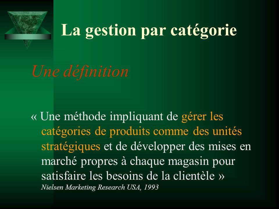 La gestion par catégorie Une définition « Une méthode impliquant de gérer les catégories de produits comme des unités stratégiques et de développer des mises en marché propres à chaque magasin pour satisfaire les besoins de la clientèle » Nielsen Marketing Research USA, 1993