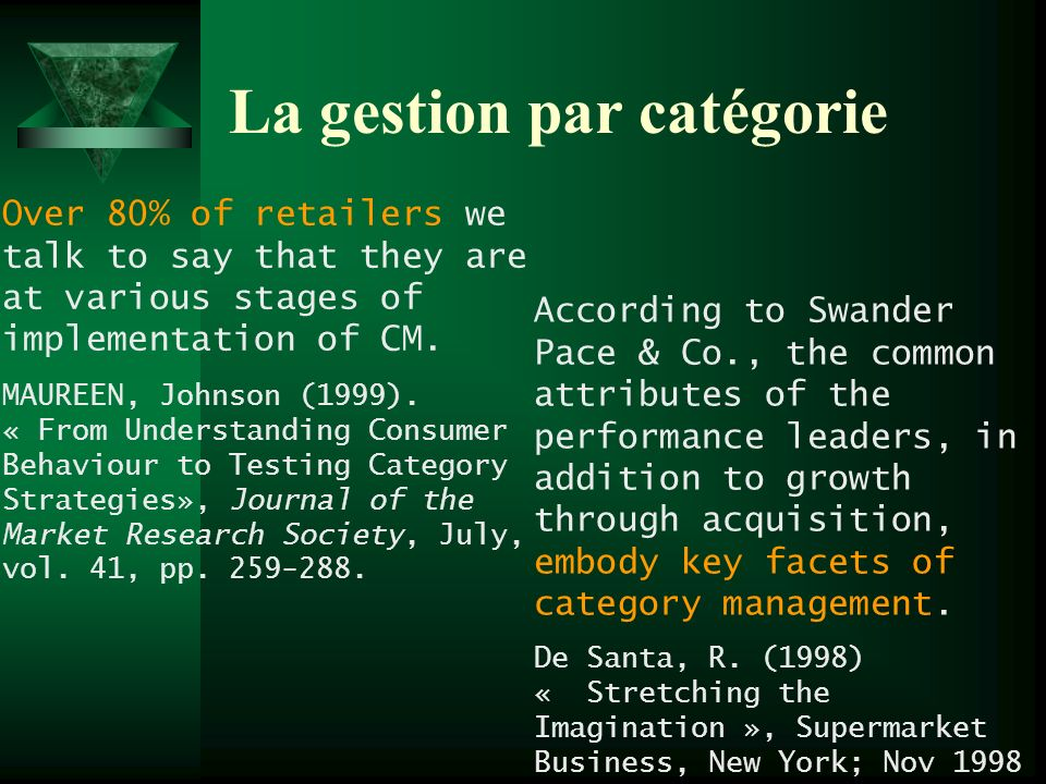 La gestion par catégorie Over 80% of retailers we talk to say that they are at various stages of implementation of CM. MAUREEN, Johnson (1999). « From