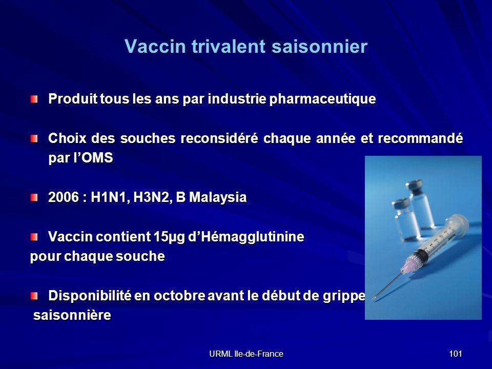 URML Ile-de-France 101 Vaccin trivalent saisonnier Produit tous les ans par industrie pharmaceutique Choix des souches reconsidéré chaque année et rec