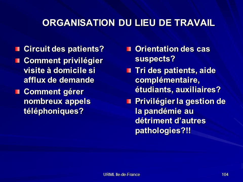 URML Ile-de-France 104 ORGANISATION DU LIEU DE TRAVAIL Circuit des patients.