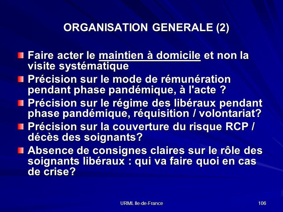 URML Ile-de-France 106 ORGANISATION GENERALE (2) Faire acter le maintien à domicile et non la visite systématique Précision sur le mode de rémunératio