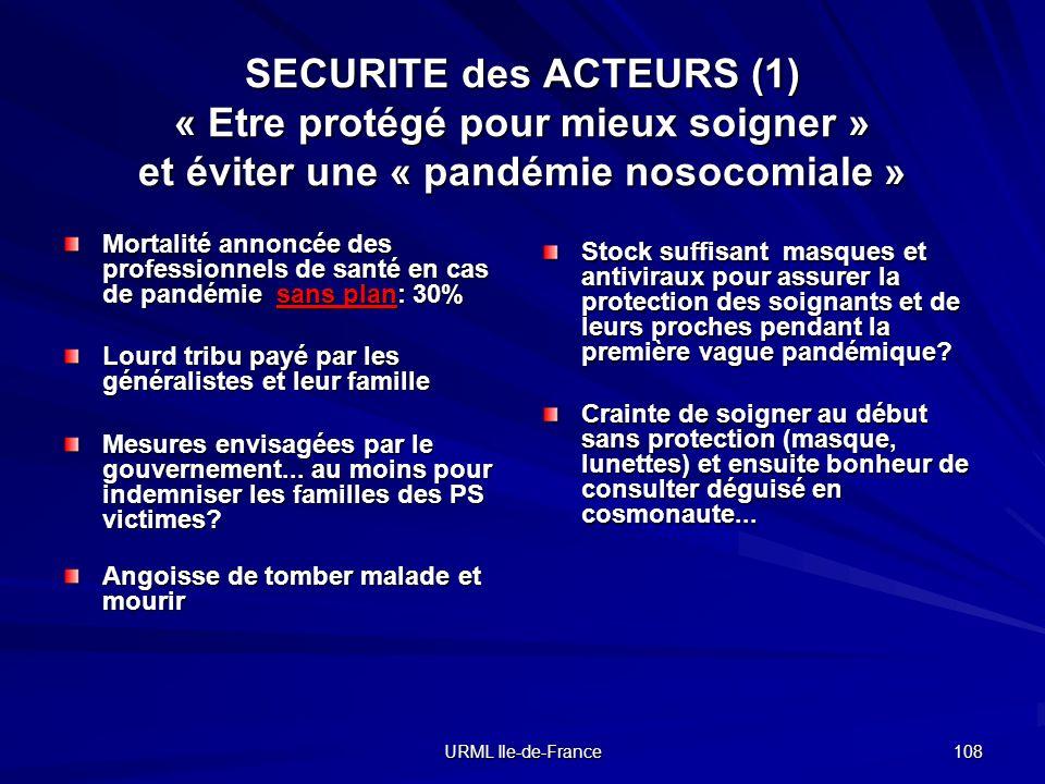 URML Ile-de-France 108 SECURITE des ACTEURS (1) « Etre protégé pour mieux soigner » et éviter une « pandémie nosocomiale » Mortalité annoncée des prof