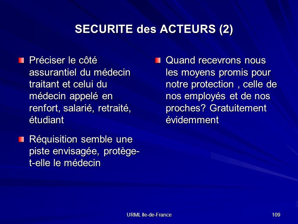 URML Ile-de-France 109 SECURITE des ACTEURS (2) Préciser le côté assurantiel du médecin traitant et celui du médecin appelé en renfort, salarié, retra
