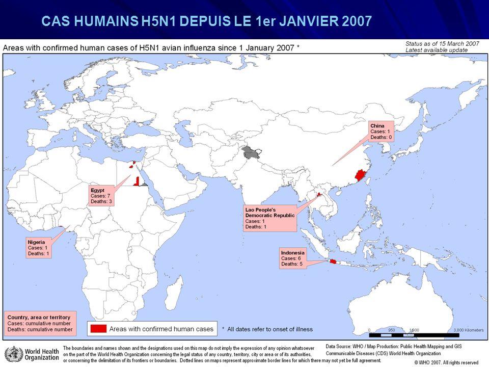 URML Ile-de-France 11 CAS HUMAINS H5N1 DEPUIS LE 1er JANVIER 2007