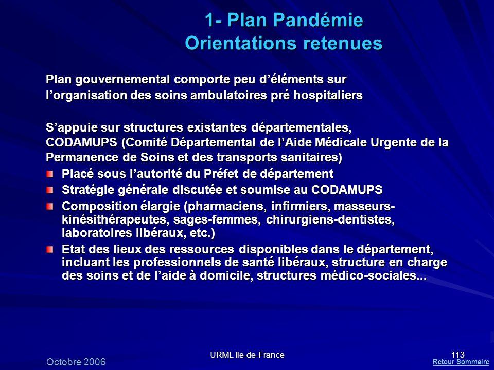URML Ile-de-France 113 1- Plan Pandémie Orientations retenues Plan gouvernemental comporte peu déléments sur lorganisation des soins ambulatoires pré