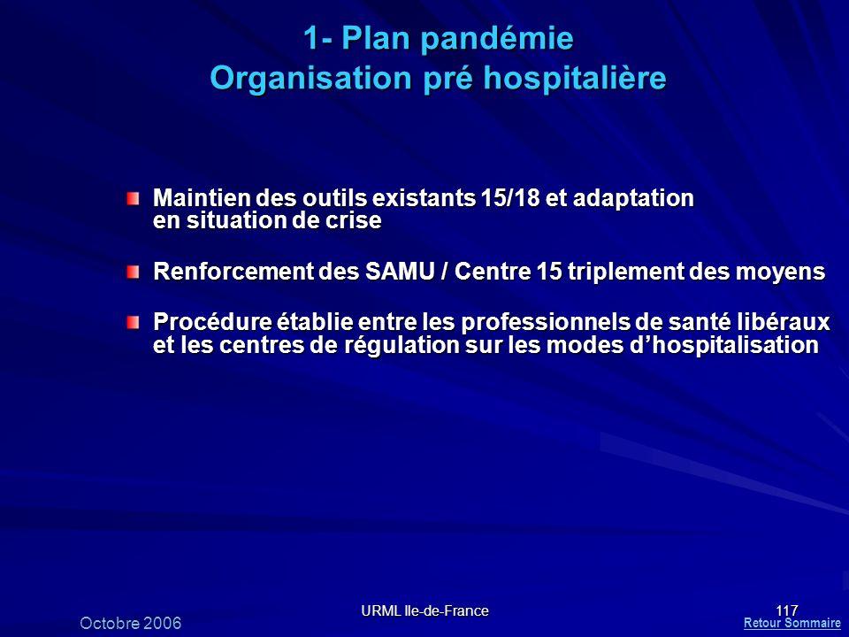 URML Ile-de-France 117 1- Plan pandémie Organisation pré hospitalière Maintien des outils existants 15/18 et adaptation en situation de crise Renforce