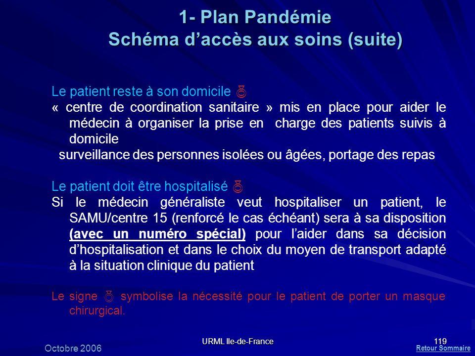 URML Ile-de-France 119 1- Plan Pandémie Schéma daccès aux soins (suite) Le patient reste à son domicile « centre de coordination sanitaire » mis en pl
