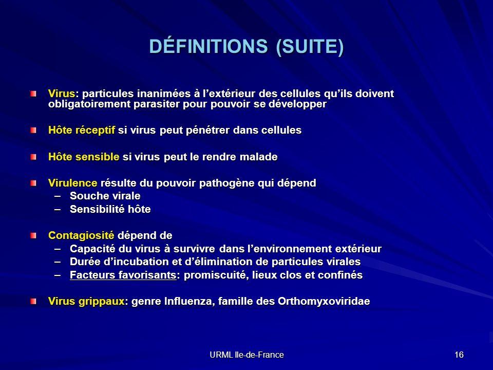 URML Ile-de-France 16 DÉFINITIONS (SUITE) Virus: particules inanimées à lextérieur des cellules quils doivent obligatoirement parasiter pour pouvoir s