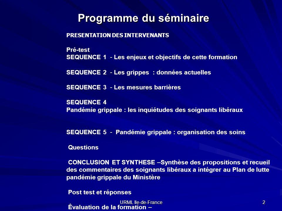 URML Ile-de-France 2 Programme du séminaire PRESENTATION DES INTERVENANTS Pré-test SEQUENCE 1 - Les enjeux et objectifs de cette formation SEQUENCE 2