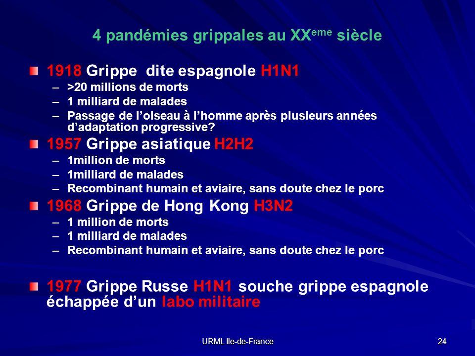 URML Ile-de-France 24 4 pandémies grippales au XX eme siècle 1918 Grippe dite espagnole H1N1 – –>20 millions de morts – –1 milliard de malades – –Pass
