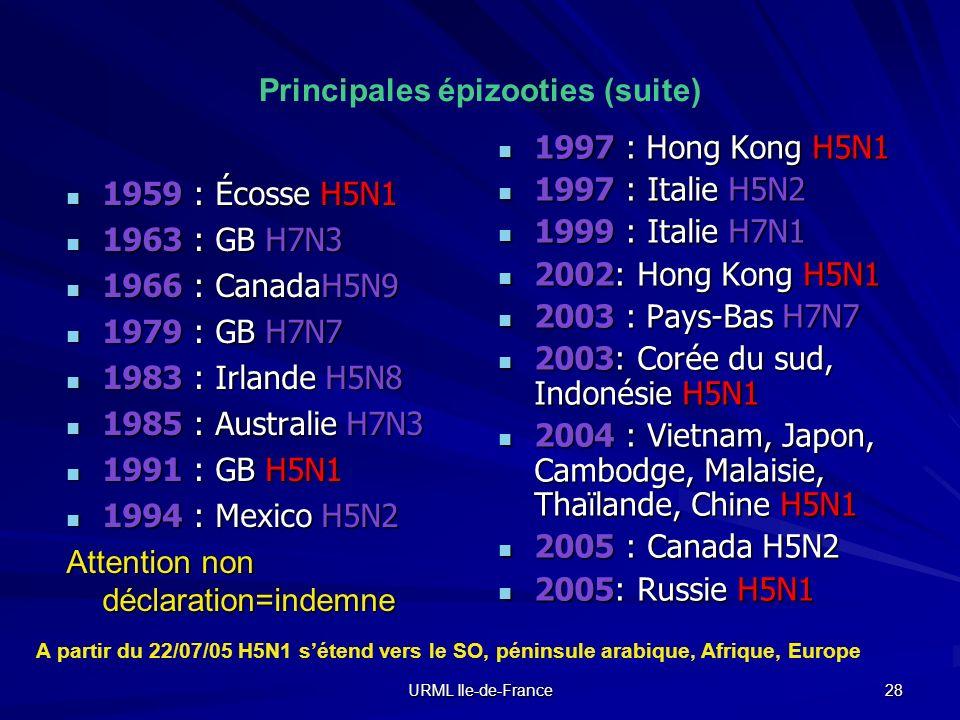 URML Ile-de-France 28 Principales épizooties (suite) 1959 : Écosse H5N1 1959 : Écosse H5N1 1963 : GB H7N3 1963 : GB H7N3 1966 : CanadaH5N9 1966 : Cana