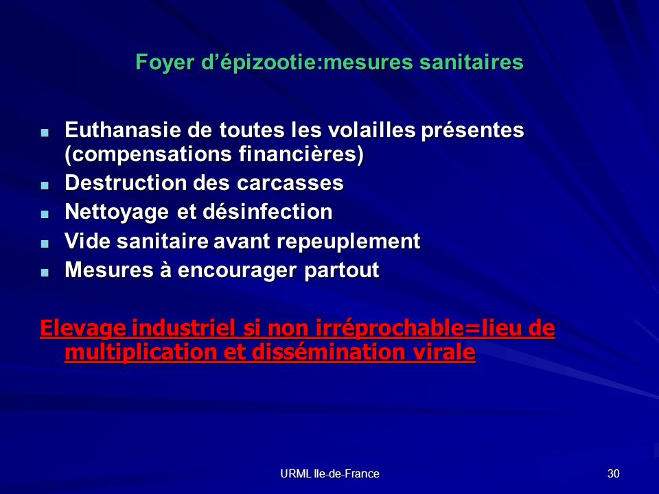 URML Ile-de-France 30 Foyer dépizootie:mesures sanitaires Euthanasie de toutes les volailles présentes (compensations financières) Euthanasie de toute