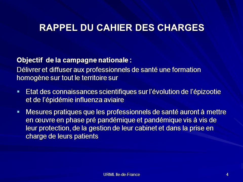 URML Ile-de-France 4 RAPPEL DU CAHIER DES CHARGES Objectif de la campagne nationale : Délivrer et diffuser aux professionnels de santé une formation h