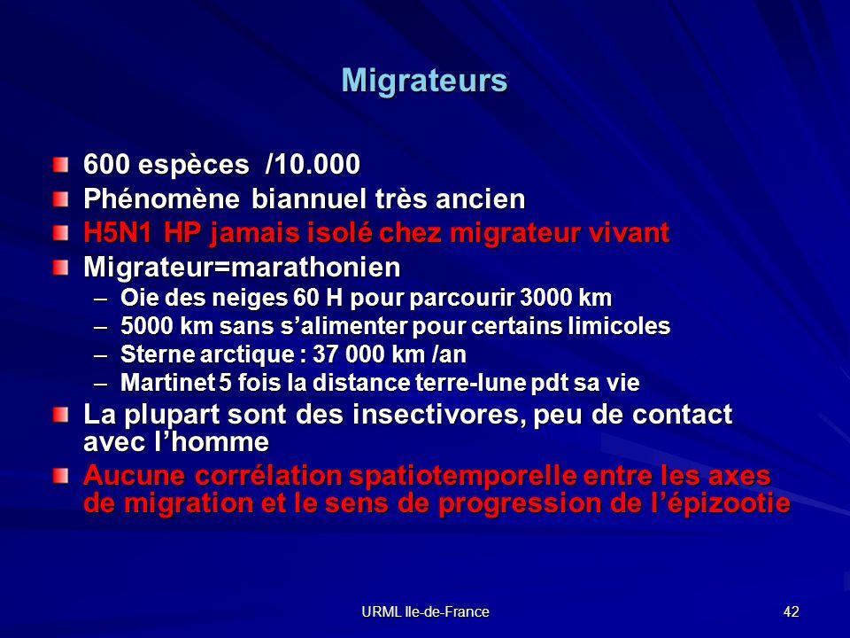 URML Ile-de-France 42 Migrateurs 600 espèces /10.000 Phénomène biannuel très ancien H5N1 HP jamais isolé chez migrateur vivant Migrateur=marathonien –