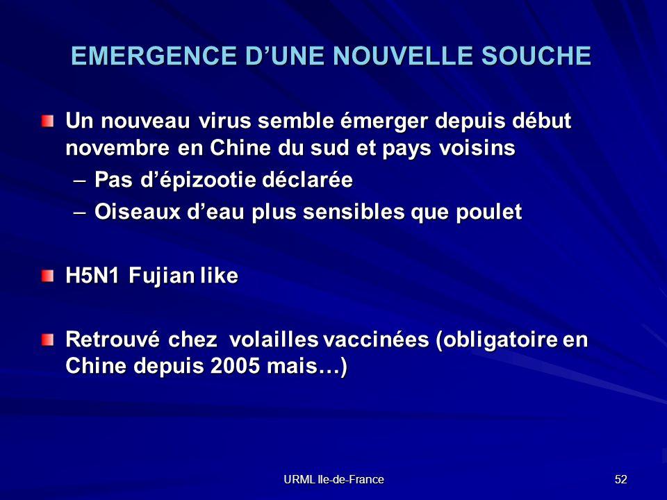 URML Ile-de-France 52 EMERGENCE DUNE NOUVELLE SOUCHE Un nouveau virus semble émerger depuis début novembre en Chine du sud et pays voisins –Pas dépizo