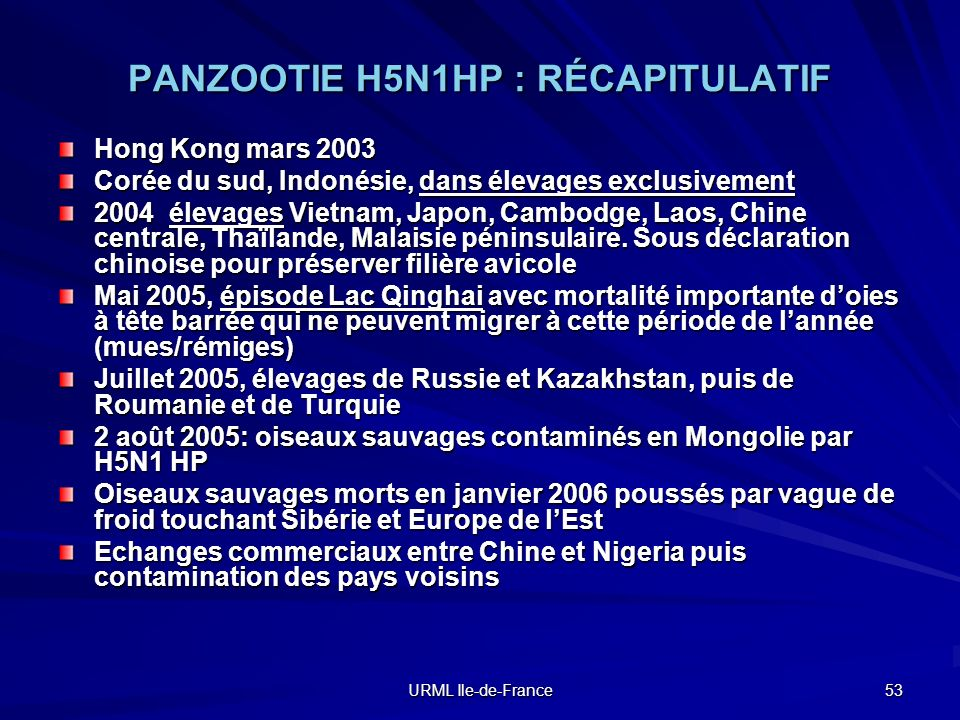 URML Ile-de-France 53 PANZOOTIE H5N1HP : RÉCAPITULATIF Hong Kong mars 2003 Corée du sud, Indonésie, dans élevages exclusivement 2004 élevages Vietnam,