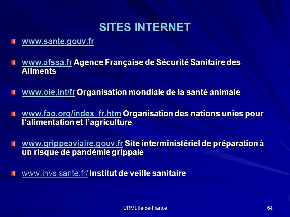 URML Ile-de-France 64 SITES INTERNET www.sante.gouv.fr www.afssa.frwww.afssa.fr Agence Française de Sécurité Sanitaire des Aliments www.afssa.fr www.o