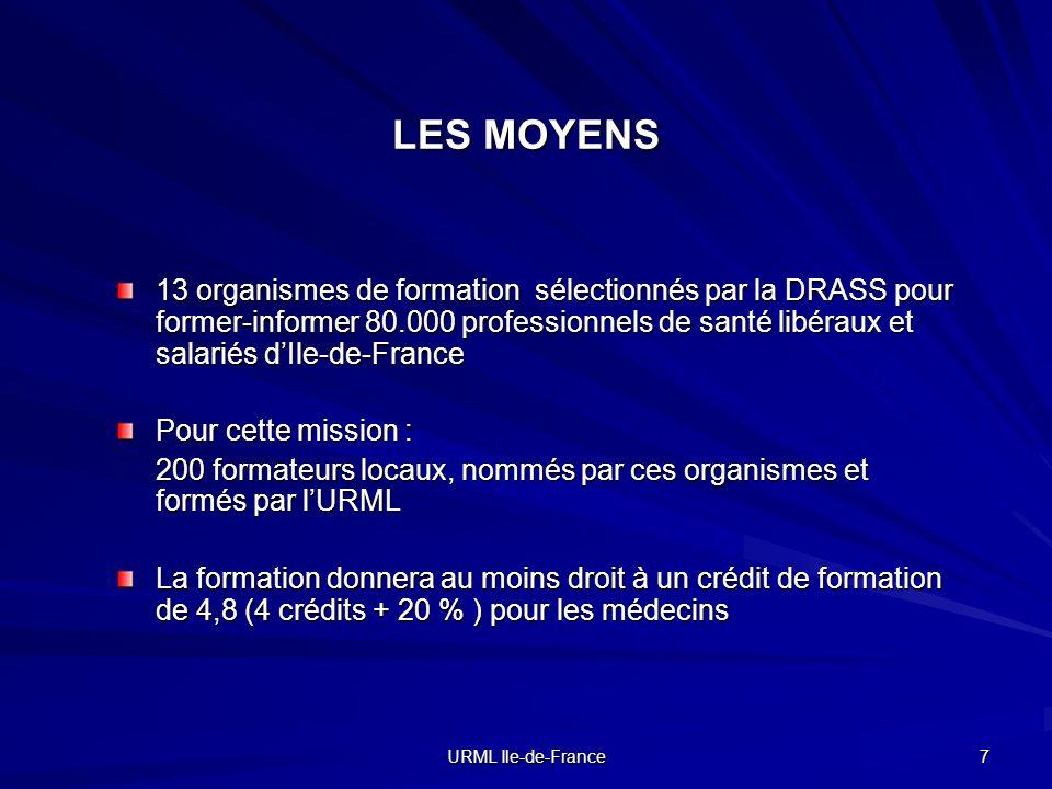 URML Ile-de-France 7 13 organismes de formation sélectionnés par la DRASS pour former-informer 80.000 professionnels de santé libéraux et salariés dIl