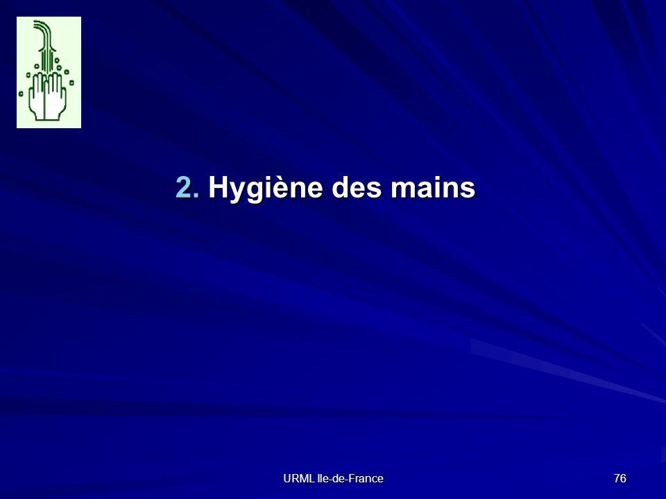 URML Ile-de-France 76 2. Hygiène des mains