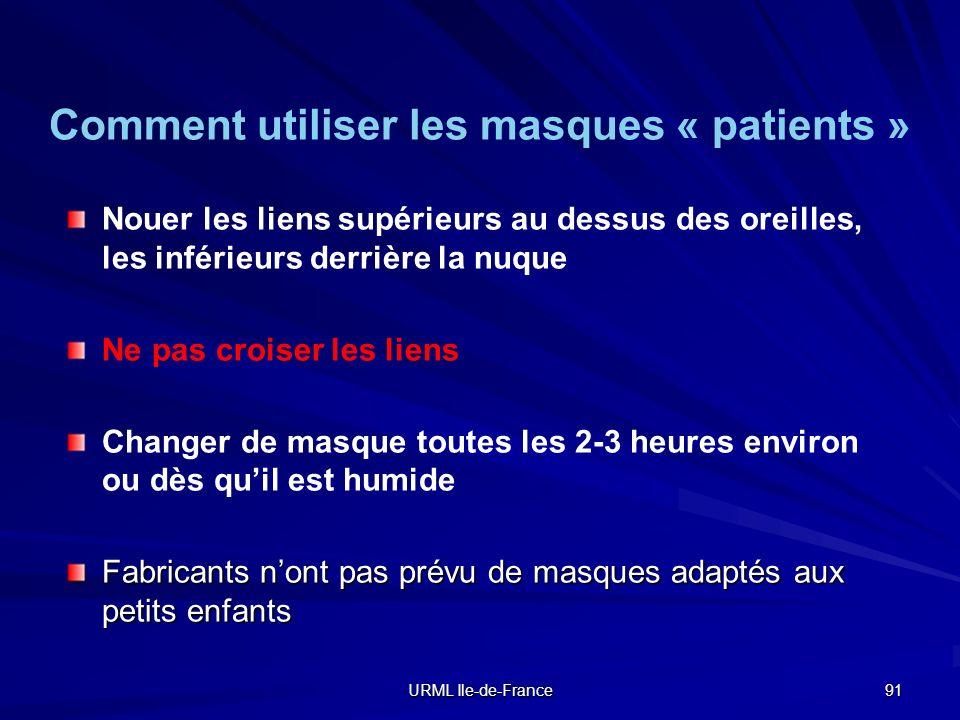 URML Ile-de-France 91 Nouer les liens supérieurs au dessus des oreilles, les inférieurs derrière la nuque Ne pas croiser les liens Changer de masque t