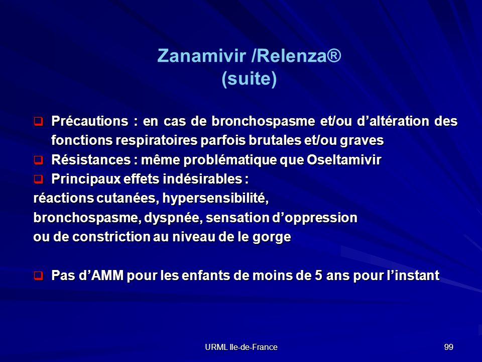 URML Ile-de-France 99 Précautions : en cas de bronchospasme et/ou daltération des fonctions respiratoires parfois brutales et/ou graves Précautions :