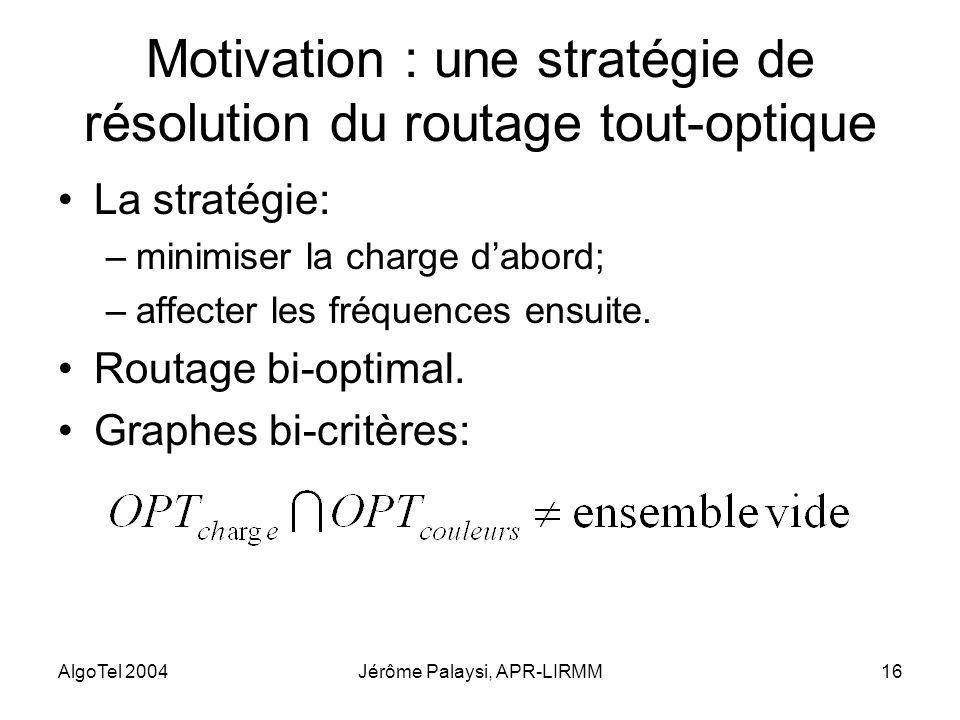 AlgoTel 2004Jérôme Palaysi, APR-LIRMM16 Motivation : une stratégie de résolution du routage tout-optique La stratégie: –minimiser la charge dabord; –a
