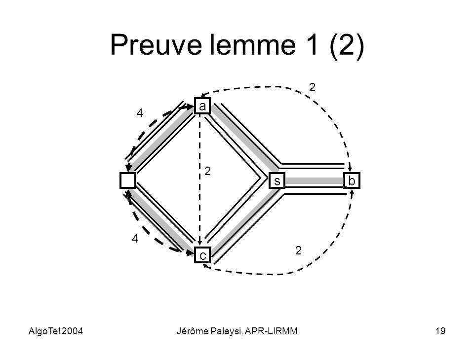 AlgoTel 2004Jérôme Palaysi, APR-LIRMM19 Preuve lemme 1 (2) b 2 2 2 s c a 4 4