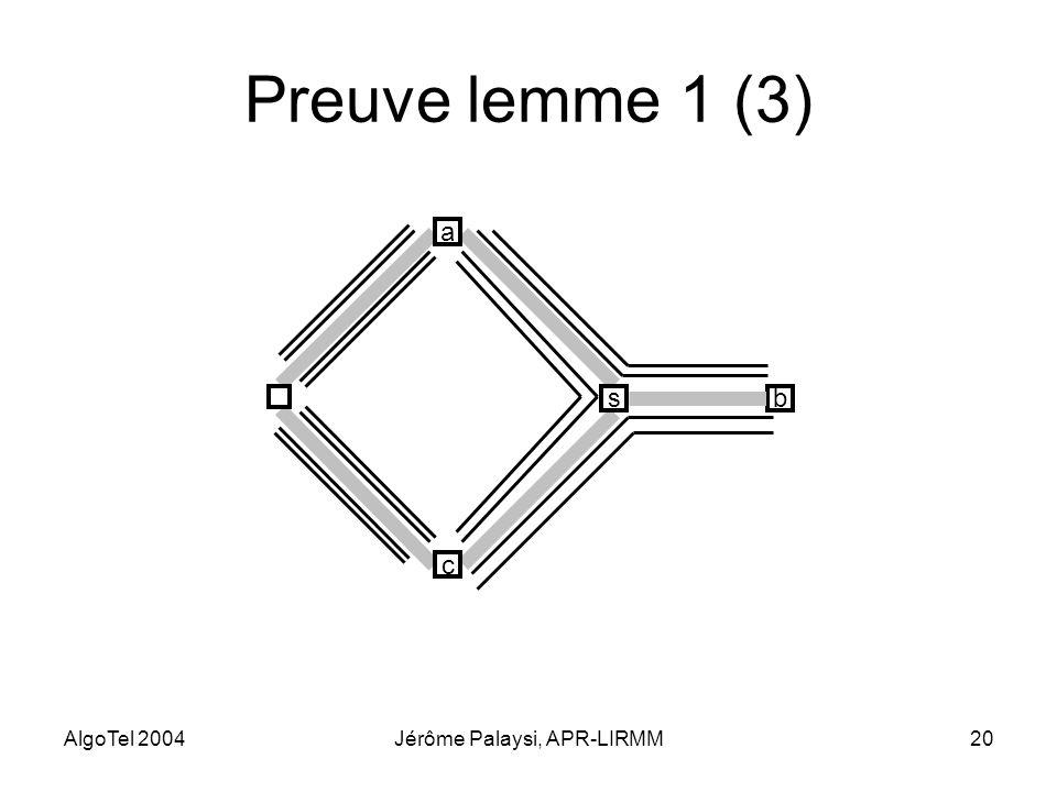 AlgoTel 2004Jérôme Palaysi, APR-LIRMM20 Preuve lemme 1 (3) bs c a