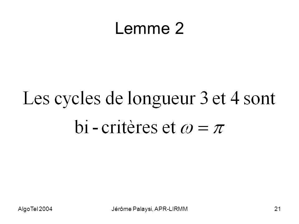 AlgoTel 2004Jérôme Palaysi, APR-LIRMM21 Lemme 2
