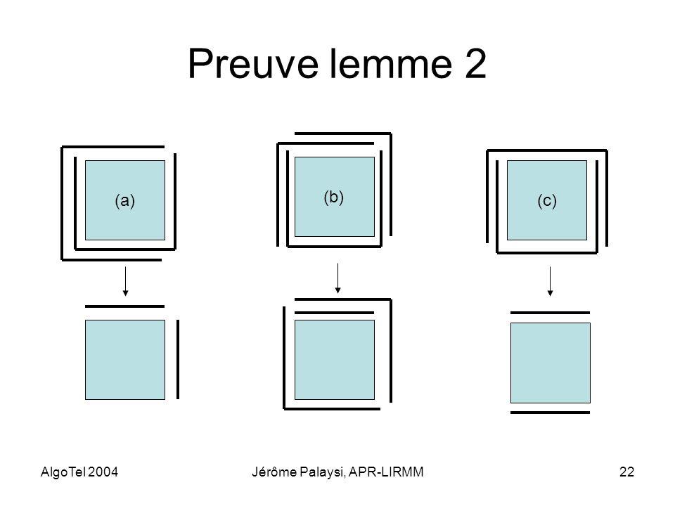 AlgoTel 2004Jérôme Palaysi, APR-LIRMM22 Preuve lemme 2 (a) (b) (c)