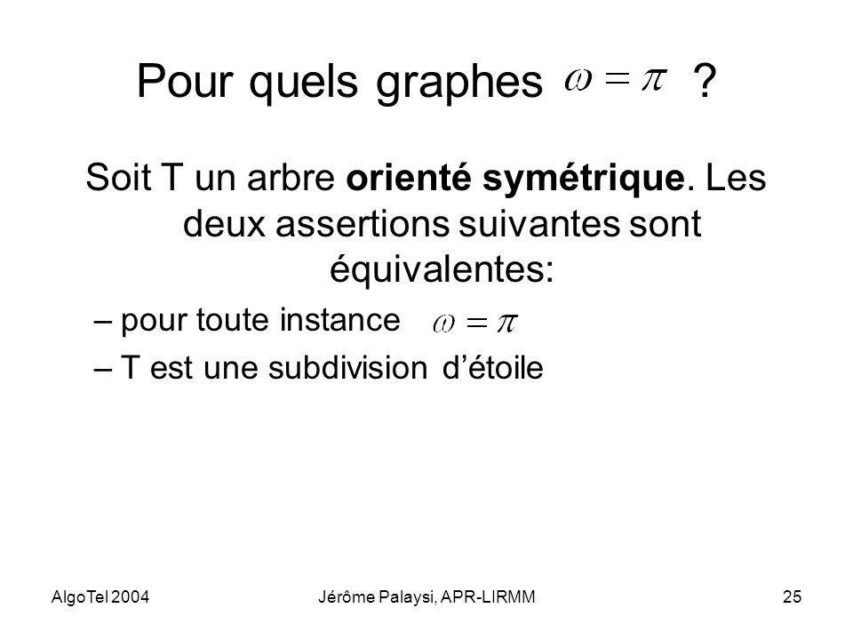 AlgoTel 2004Jérôme Palaysi, APR-LIRMM25 Pour quels graphes ? Soit T un arbre orienté symétrique. Les deux assertions suivantes sont équivalentes: –pou