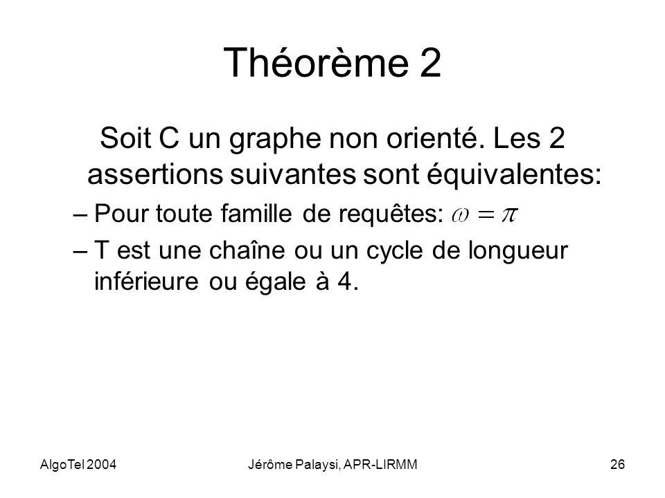 AlgoTel 2004Jérôme Palaysi, APR-LIRMM26 Théorème 2 Soit C un graphe non orienté. Les 2 assertions suivantes sont équivalentes: –Pour toute famille de