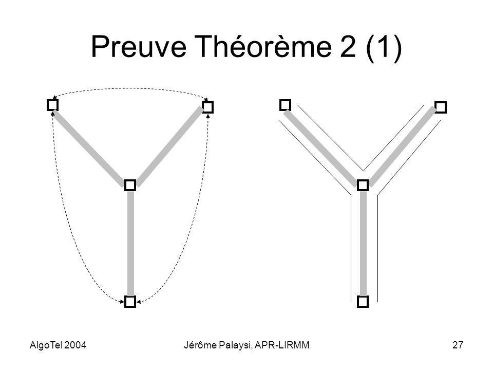 AlgoTel 2004Jérôme Palaysi, APR-LIRMM27 Preuve Théorème 2 (1)