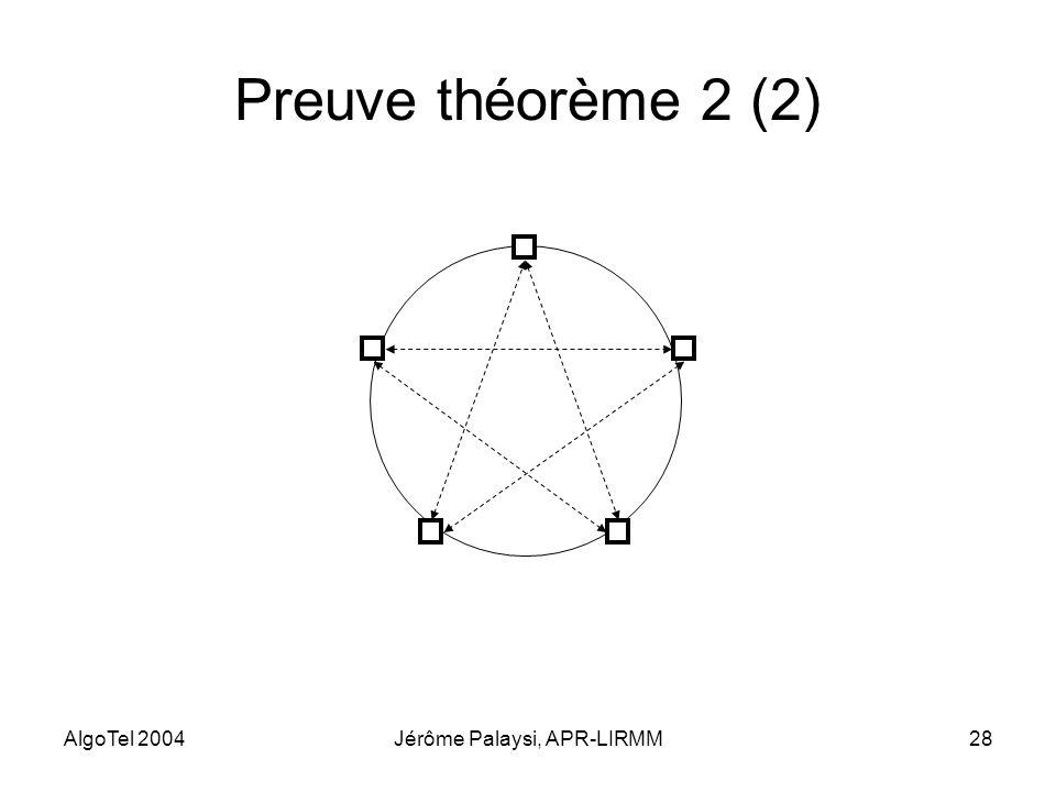 AlgoTel 2004Jérôme Palaysi, APR-LIRMM28 Preuve théorème 2 (2)