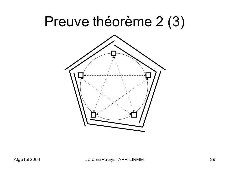 AlgoTel 2004Jérôme Palaysi, APR-LIRMM29 Preuve théorème 2 (3)