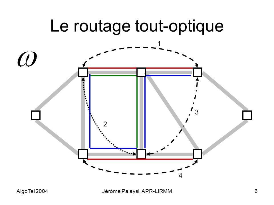 AlgoTel 2004Jérôme Palaysi, APR-LIRMM6 Le routage tout-optique 1 2 3 4