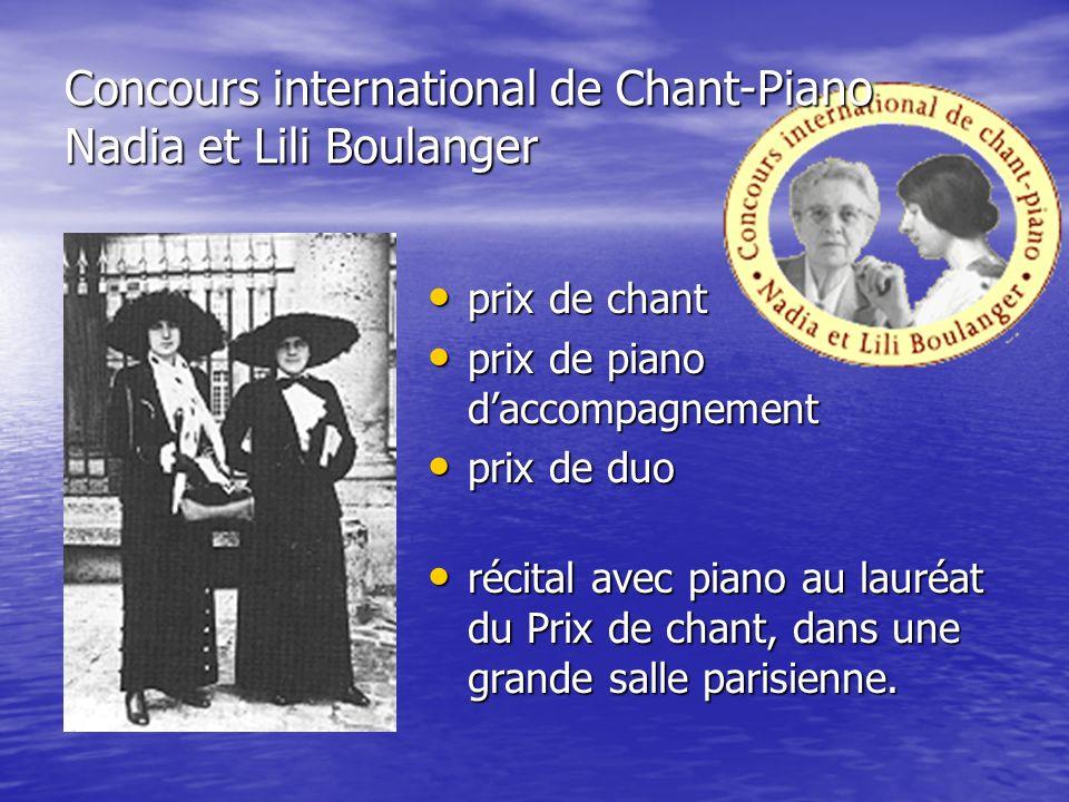 Concours international de Chant-Piano Nadia et Lili Boulanger prix de chant prix de chant prix de piano daccompagnement prix de piano daccompagnement prix de duo prix de duo récital avec piano au lauréat du Prix de chant, dans une grande salle parisienne.