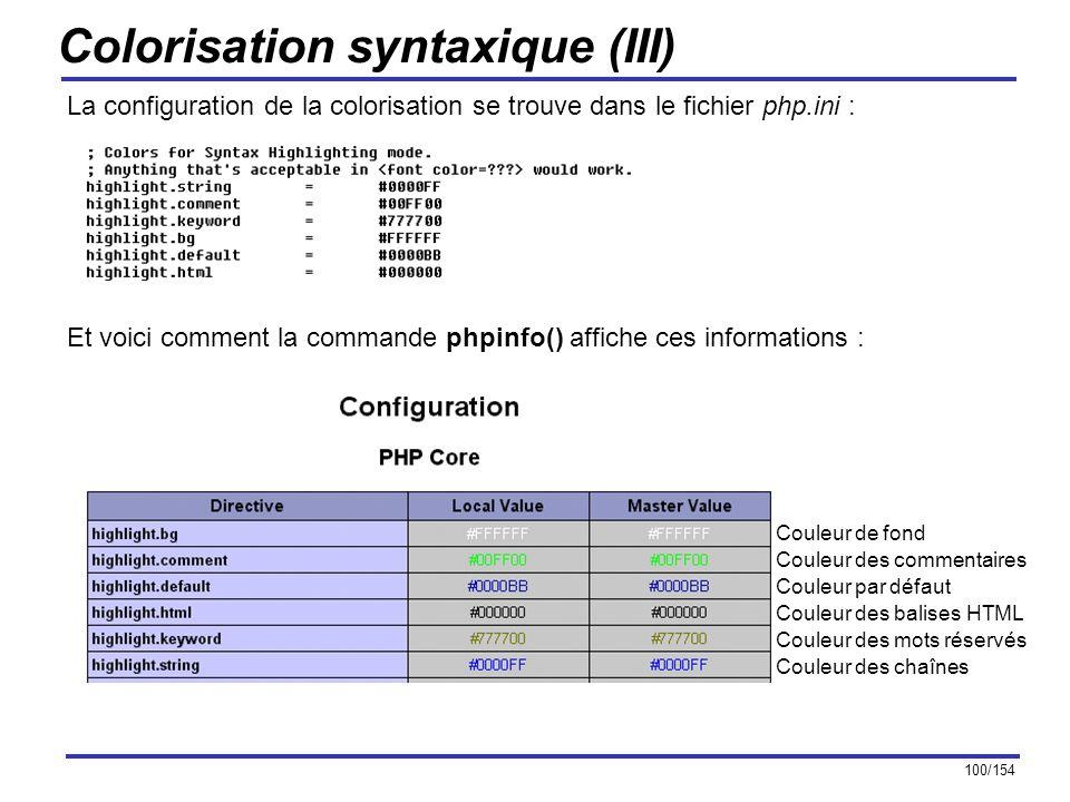 100/154 Colorisation syntaxique (III) La configuration de la colorisation se trouve dans le fichier php.ini : Et voici comment la commande phpinfo() a