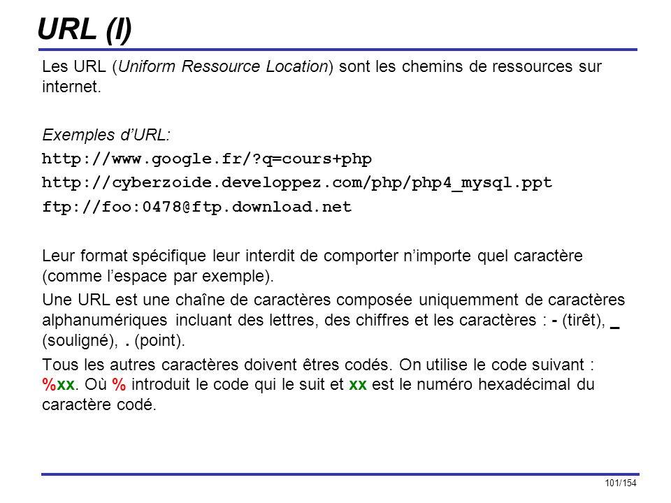 101/154 URL (I) Les URL (Uniform Ressource Location) sont les chemins de ressources sur internet. Exemples dURL: http://www.google.fr/?q=cours+php htt