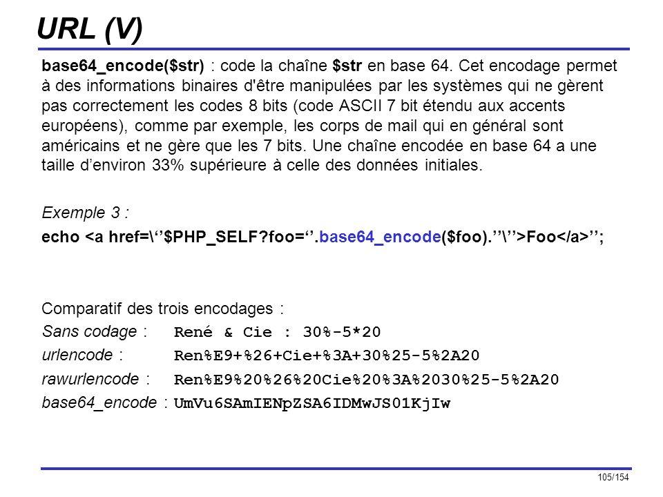 105/154 URL (V) base64_encode($str) : code la chaîne $str en base 64. Cet encodage permet à des informations binaires d'être manipulées par les systèm