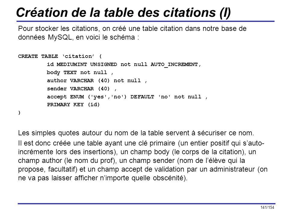 141/154 Création de la table des citations (I) Pour stocker les citations, on créé une table citation dans notre base de données MySQL, en voici le sc